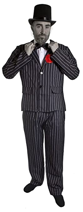 mens dead zombie wedding groom halloween fancy dress costume pinstripe suit with tophat black - Amazon Halloween Costumes Men