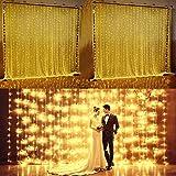 Glighone Guirlande Rideau Lumineux 600 LEDs Etoiles Lumières Féeriques Eclairage Décoration pour Fenêtre Fête Noël Soirée Mariage Jardin Blanc Chaud 8 Modes 6Mx3M...