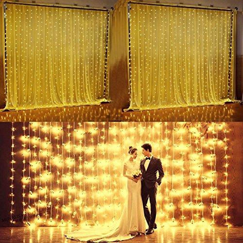 tten 600 LEDs Indoor Fairy String Licht Led Vorhang Lichter mit 8 Modi für Weihnachten Hochzeit Party Haus Garten Schlafzimmer Beleuchtung Dekorationen 6m * 3m (Warmes Weiß) (Vorhang-lichter)