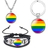 DEESSEPRO® 3 Pezzi LGBT Arcobaleno Gay Pride Bracciale, Collana e Portachiavi, Regalo Ideale per la Celebrazione del Gay Prid