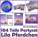 Dekospass - Juego de cumpleaños para niños (de 10 a 12 niños, incluye platos, vasos, servilletas, invitaciones, bolsas, tiritas y globos), diseño de caballos