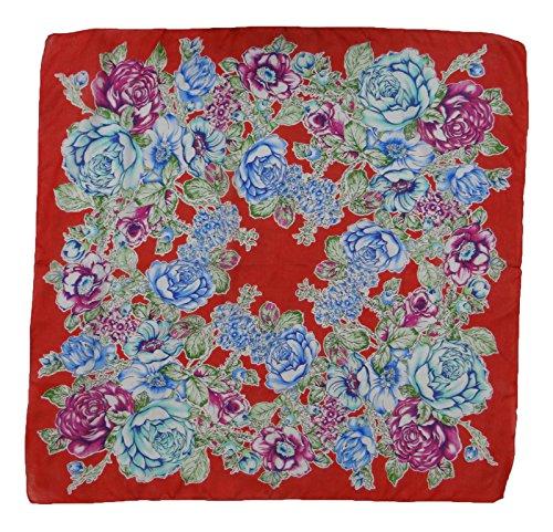 """Doux Floral Silk Print Wrap Femmes Summer Fashion Square Scarf Stole 40 """"X 40"""" Pouces Rouge et bleu"""