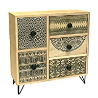 marymarygardens Contemporary Rustic 5 Drawer Table Top Cabinet with Wire Legs