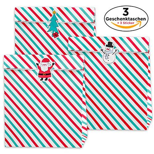 (3x Geschenktüte Xmas Stripes + 3 weihnachtliche Sticker - Weihnachten Weihnachtsgeschenke & Nikolaus - Geschenke verpacken Papier-Taschen)