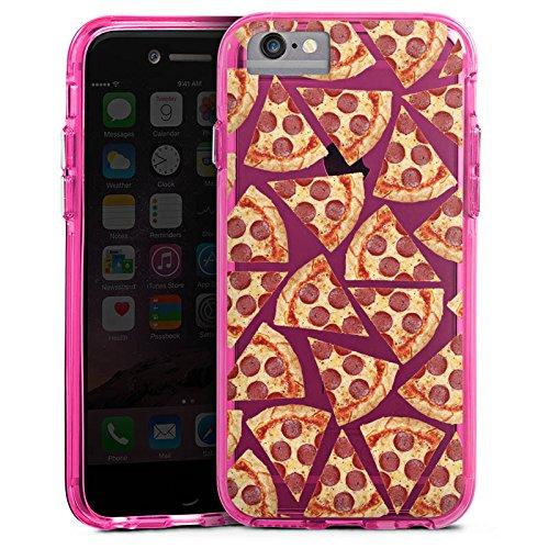 Apple iPhone 8 Bumper Hülle Bumper Case Glitzer Hülle Transparent mit Muster Pizza Pattern Bumper Case transparent pink