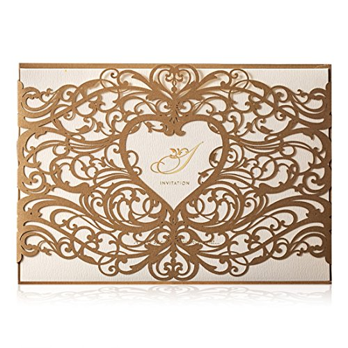 Wishmade Gold Laser Cut Hochzeitseinladungskarten Sets 50 Stücke mit Herz Hohlen Gefälligkeiten Einladung Cardstock für Engagement Bridal Shower Baby Dusche Geburtstag Abschluss(Satz von 50pcs)