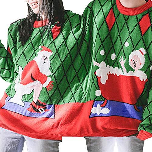 SEWORLD Weihnachten Vintage Christmas Zwei Personen Pullover Unisex Paare Pullover Neuheit Weihnachten Bluse Top Pullover Oberteile Sweatshirt(Grün,EU-40/CN-XL)