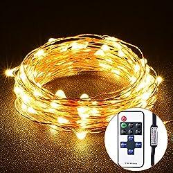 VicTsing Cadena de luces LED 100 bombillas y 10m de Alambre de Cobre, LED Luces Impermeable IP65 Para Dormitorio, Patio, Fiesta, Árbol de Navidad, Decoraciones (Blanco Caliente, Control Remoto)