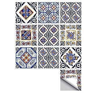 MXZJ Tile Sticker Italian Style Art Deco Wall Sticker Hard Waterproof Antifouling Tile Sticker Kitchen Bathroom Wandsticker 10 Stück (15 * 15cm),15 * 15CM