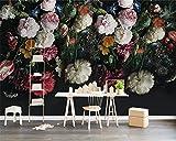 BZDHWWH Benutzerdefinierte 3D Wallpaper Leben Tv Hintergrundbild Wandbild Europäischen Retro Hand Bemalt Floral Fototapete,210cm (H) x 315cm (W)