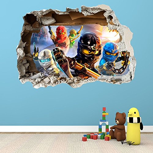 Wandtattoo aufkleber lego ninjago 3d zerst rten wand stil gro lego aufkleber aufkleber wall - Wandtattoo feuerwehrmann sam ...