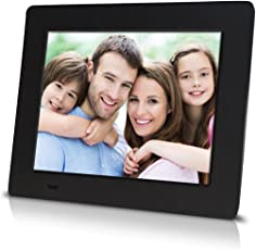 """Sungale PF709 - 7 inch Digital Photo Frame with 0.3"""" Ultra-slim Design, High Definition LCD Screen (Black)"""