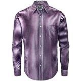 Charles Wilson Originals Long Sleeve Men's Gingham Checked Casual Shirt (Large, Burgundy & Sky)
