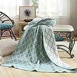 MQHY- 2 facciata coperta di maglia morbido manto Aria condizionata coperta di singole persone divano letto Blanket coperta per bambini Quilt Nap pianura griglia semplice tipo 152CM * 127CM,verde