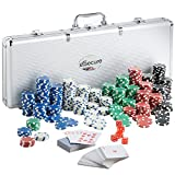eSecure Professional Poker Set | 500 Piece | Comes with Dice, Dealer, Blind Buttons and 2 Card Decks | Aluminium Carry Case - Portable and Durable
