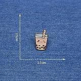 Vista Runde Brosche Hai-Tee Hai-Tee, Emaille, Anstecknadel für Mädchen, Hut/Tasche, Anstecknadeln, Denim, Jacke, Hemd, Damen, Anstecker SC4317 : Milchtee