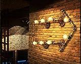 Cobre color Retro Industrial Steampunk tubo forja pared luz creativa Vintage lámpara de pared para Bar Club...