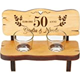 Casa Vivente Panchina per Shot in Legno con 2 Bicchierini da Liquore in Vetro, Incisione Personalizzata Nozze d'oro con Nomi