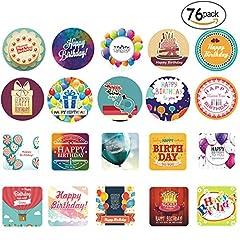 Idea Regalo - Adesivi Etichette Adesive Rotonde Personalizzate Thank You Grazie Sticker Tag per Bomboniere Cottura, 76 Piece (Happy Birthday)