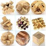 Holzsammlung 9 Stück 3D Puzzle Holz Gehirnjogging Puzzles Geschicklichkeitsspiel Denksportaufgaben Geschenk Set #2