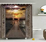 KRISTI MCCARTNEY Fantasy Decor Shower Curtain, Gaze Toward Heavens with Two Angels Dancing Dream Mystic Lands Fairy Image, Fabric Bathroom Decor Set with Hooks, 75 inches Long, Taupe Golden