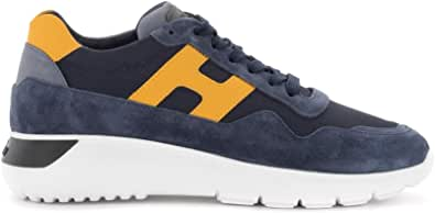 Hogan Sneaker H371 Interactive³ in Suede E Tessuto Blu E Giallo, Taglia UK: 10½