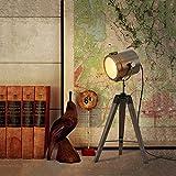 Glückstein Stehlampe Tischlampe mit drehbarem Kopf aus Metall 180 Grad und dreibeinigem Holzgestell Stehleuchte E27 Leuchtmittel inklusiv, für Schlafzimmer Wohnzimmer und Restaurant