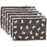 "VHC Brands 30640 Black Primitive Star Placemat, set of 6, 12"" x 18"""