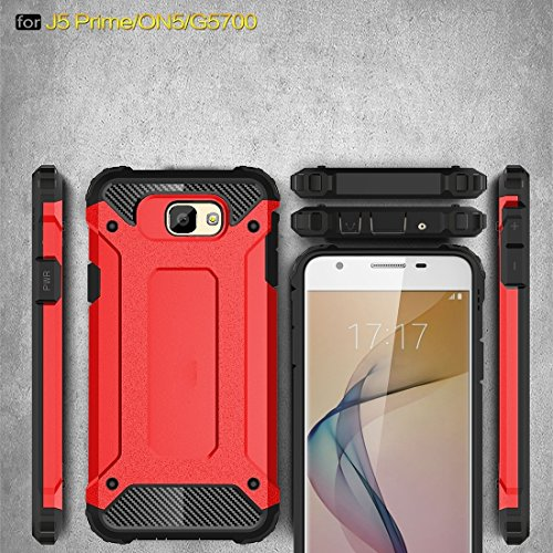 Samsung Galaxy J7 Prime Case Tough Armor TPU + PC Kombi Hülle Für Samsung Galaxy J7 Prime by diebelleu ( Color : Red ) Red