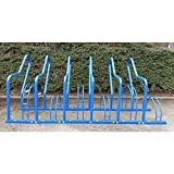 Fahrradständer mit Anlehnbügel - 6 Einstellplätze - farbig beschichtet - Anlehnbügel für Fahrräder Bügelparker Fahrradanlehnbügel Fahrräderständer Reihenständer