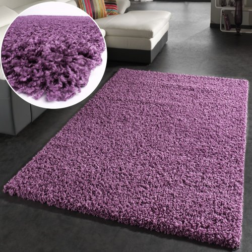 Shaggy Rug High Pile Long Pile Modern Carpet Uni Violet Purple, Size:230x320 cm