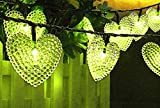 KEEDA Guirlande Lumineuses Solaire, 20 LED Coeur Lumières Solaire Heart String Lights Luminaire Extérieur, Lumières Chaines de Noël,Solaire Extérieure Guirlande Lumineuse(Vert)