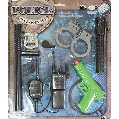 shoperama 7-teiliges Polizei Set für Kinder Polizist Kostüm-Zubehör Jungen Spielzeug-Pistole Walkie-Talkie