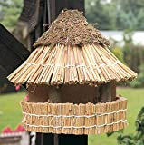 Vogelfutterhaus mit Reetdach und Heidekappe, 'Heidehütte zum Aufhängen'