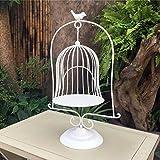Xing Hua home Jaula de pájaro Decorativa de Escritorio del Piso del Hierro labrado Europeo Soporte de Flor de los Ornamentos del Metal de la Ventana apoyos de la Boda carnosos (Color : Blanco)