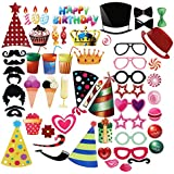 PBPBOX Photo Booth Props for Birthday - 56 Count