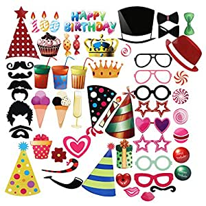 pbpbox photo booth props for birthday 56 count jeux et jouets. Black Bedroom Furniture Sets. Home Design Ideas