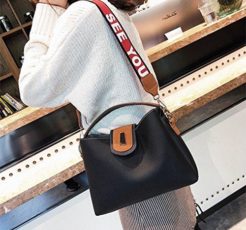 ZKOO Damen Schultertaschen Kunstlederschen Mode Tragetaschen Umhängetasche Handtasche Shopper Schwarz
