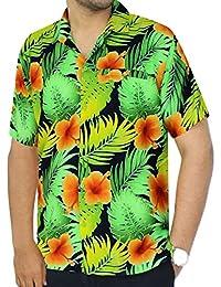 La Leela bouton millésime manches courtes coupe classique bas aloha cerf surfeur shirt hommes xs orange - 5XL