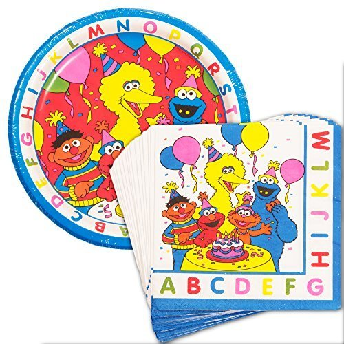 Sesame Street Party Plates and Napkins Set (Party Supplies -- 8 Plates and 16 Napkins Featuring Elmo, Cookie Monster, Big Bird and More!) by Sesame ()