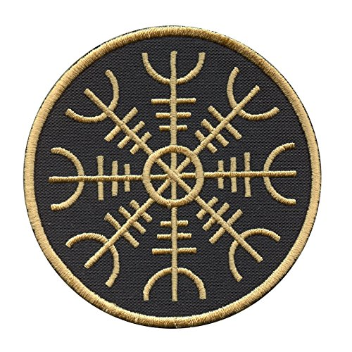 Golden Aegishjalmr Viking Helm of Awe Terror Protection Rune Morale Fastener Toppa Patch