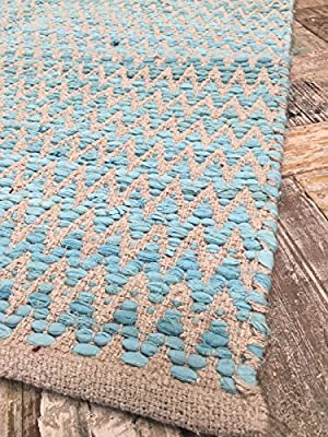 Gorgeous Natural Turquoise Zig Zag Design Soft Indian Rug 90cm x 150cm produced by Second Nature Online - quick delivery from UK.