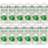 12er-Pack FOCO Pures Kokosnusswasser [ 12x 1 Liter ] Coconut Water 100% Natural + ein kleines Glückspüppchen - Holzpüppchen