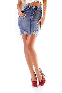 10927 Damen Jeans Rock Minirock Denim Fransensaum Skirt Destroyed Camouflage