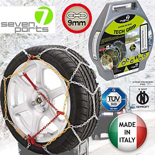 Schneeketten sieben Seven Parts 7 - Ermächtigter ÖNORM 9MM - Sized 14- bis 15 Zoll - 16 - 17 - 18 - Made in Italy - Reifengröße 90