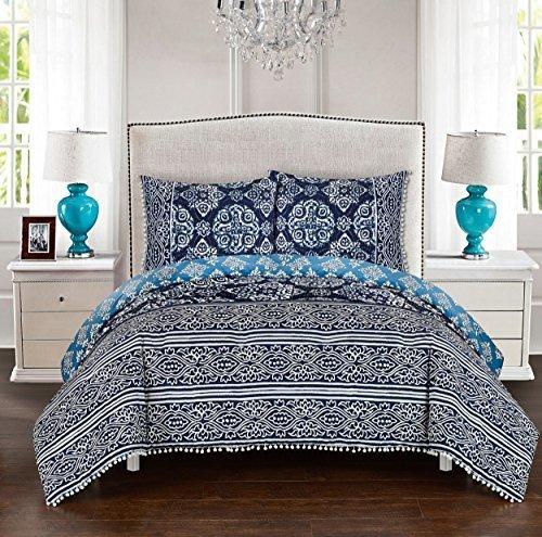 Luxus Bettwäsche Company lux-bed 3PC 100% Baumwolle Wendbar Tröster Set, blau, full/Queen