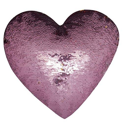 Dekorative Akzent Kissen Werfen (ataya Meerjungfrau Überwurf Kissen mit Einsatz, 2 Farben Herz Form wendbar dekorativer Pailletten Kissen (Pink+Gold, Heart Shaped))