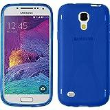 PhoneNatic Case kompatibel mit Samsung Galaxy S4 Mini Plus I9195 - blau Silikon Hülle X-Style + 2 Schutzfolien