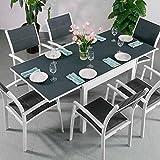Chloe Tisch und 6 Milly Stühle - WEIß & GRAU | ausziehbarer Esstisch mit passenden Stühlen