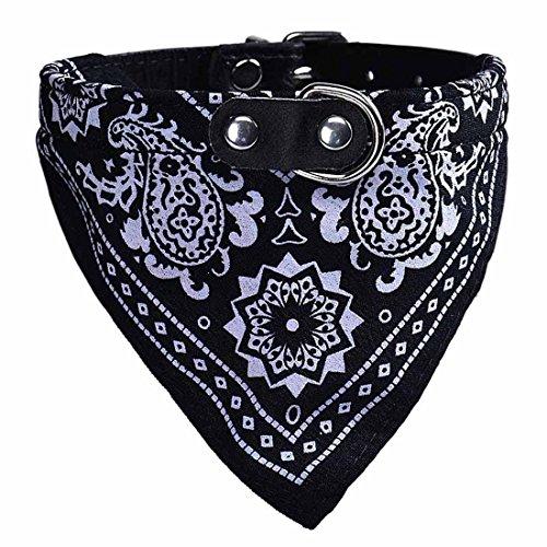 Ducomi Collar de Perro Ajustable con Pañuelo - Accesorio Divertido para su Perro y su Gato (L, Black)